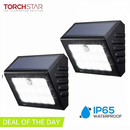 Torchstar 2 Pack Led Solar Motion Lights Outdoor For Garage Yard