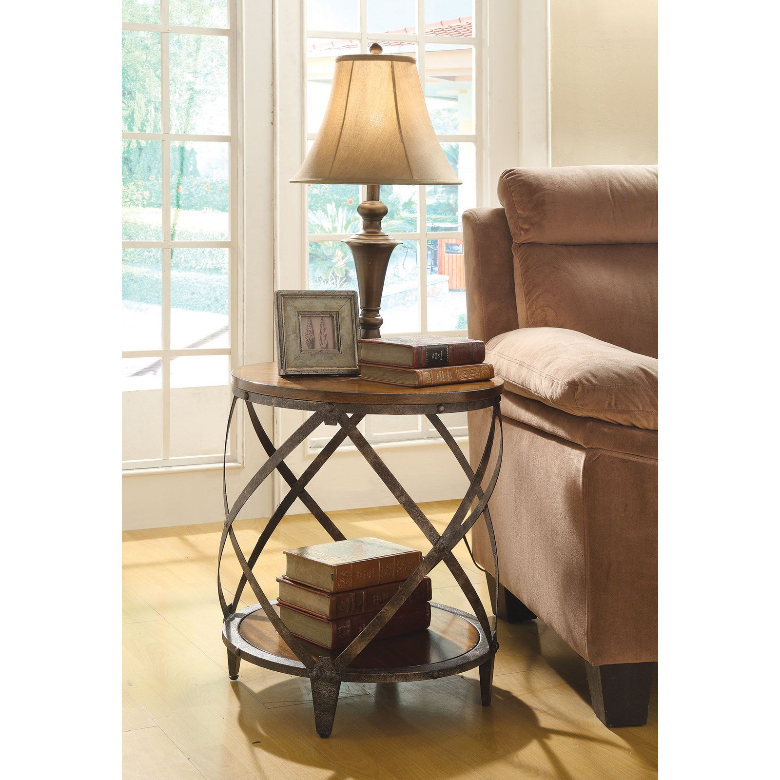 Coaster Furniture Brown Spiral Metal Frame Accent Table