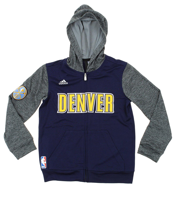 Adidas NBA Denver Nuggets Youth Pregame Hoodie, Grey / Navy