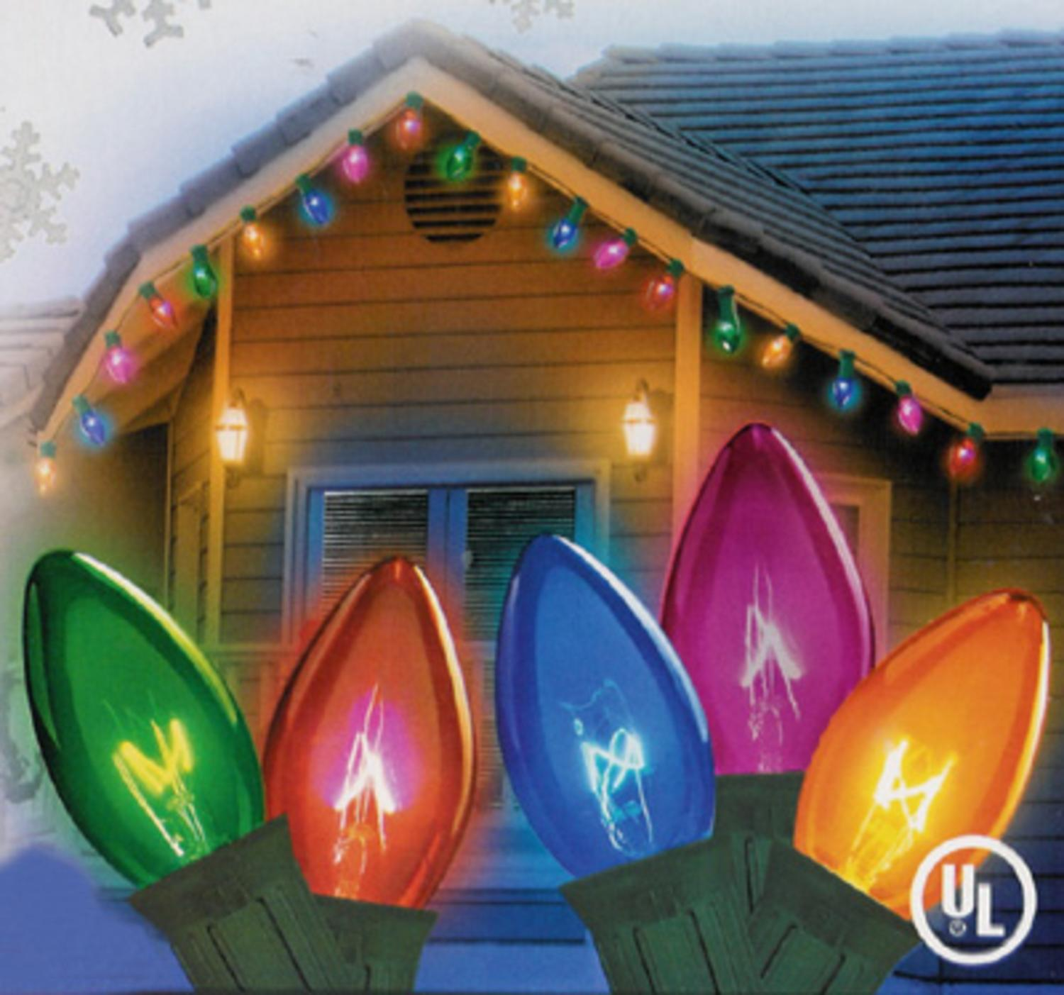 Set of 25 Transparent Multi-Color C9 Christmas Lights - Green Wire