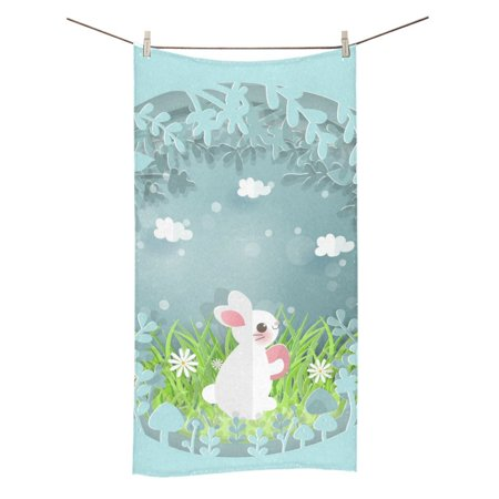 MKHERT Easter Bunny Bath Towel Hand Towel Shower Towel Washcloth 30x56 inch
