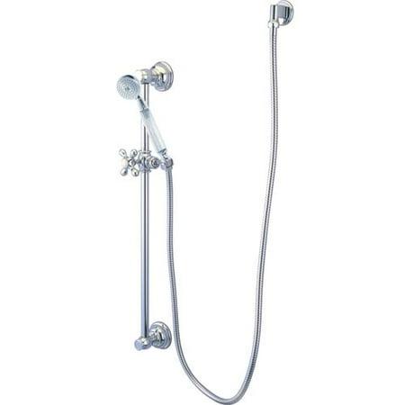 Elements Of Design EAK3421W1 Shower Kit with Brass Supply Elbow, Slide Bar, Hose