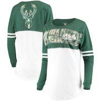 Milwaukee Bucks New Era Women's Baby Jersey Stripe Spirit Long Sleeve T-Shirt - White/Hunter Green