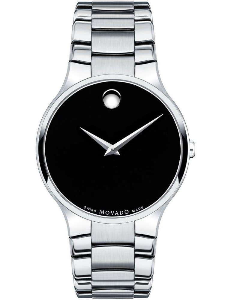Movado Serio Black Dial Stainless Steel Men's Watch 0606382