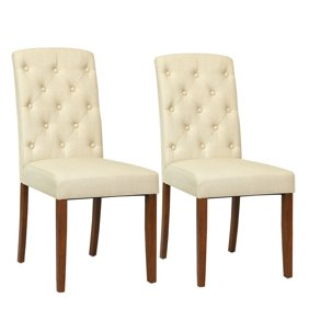 Marvelous Costway Set Of 2 Dining Chairs Tufted Pu Leather High Back Armless Accent Home Kitchen Andrewgaddart Wooden Chair Designs For Living Room Andrewgaddartcom