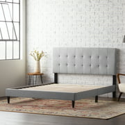 Rest Haven Upholstered Platform Bed Frame with Square Tufted Headboard, Queen, Gray
