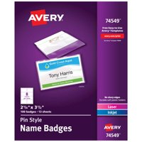 "Avery Pin Style Name Badges, 2-1/4"" x 3-1/2"", 100 Badges (74549)"