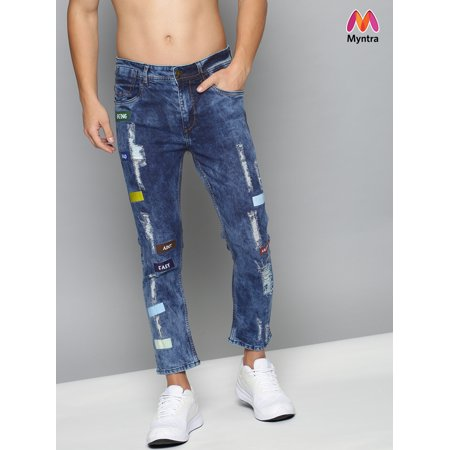 Kook N Keech Men Blue Printed Skinny Fit Mid-Rise Highly Distressed Stretchable Jeans - image 1 of 1