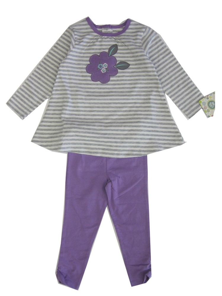 Little Me Little Girls Purple Grey Stripe Floral Applique Legging Set 2-4T