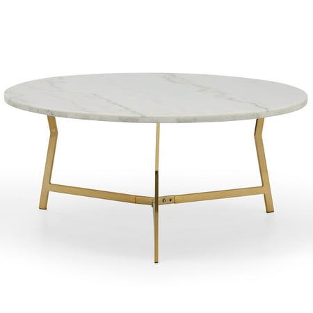 Modrn Retro Glam Lena Geo Base Coffee Table White Marble