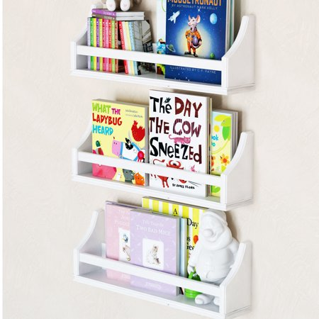 Set Of 3 Stylish Baby Nursery Room Wall Shelf Sy Birch Wood Short 20 White