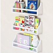"Set of 3 Stylish Baby Nursery Room Wall Shelf Sturdy Birch Wood (Short (20""), white) …"