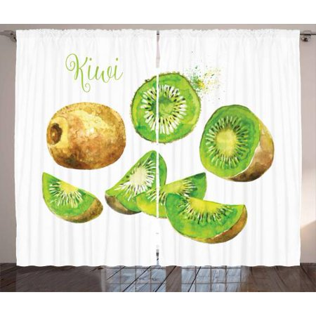 Fruit Curtains 2 Panels Set, Whole and Sliced Kiwis Watercolor Tropical Food Exotic Vegan Options, Window Drapes for Living Room Bedroom, 108W X 63L Inches, Apple Green and Pale Brown, by (Cooling Options For Room With No Windows)