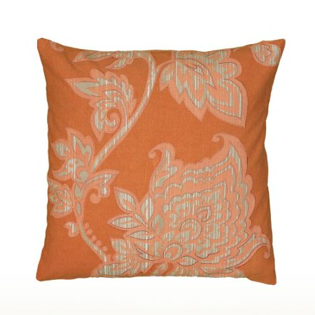 Rizzy Home Embroidery Vine And Bud Pillow 18