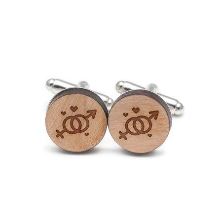Symbol Cufflinks Cufflinks - Men And Women Symbols Cufflinks, Wood Cufflinks Hand Made in the USA