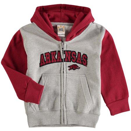 Arkansas Razorbacks Toddler Raglan Full-Zip Fleece Hoodie - Gray/Cardinal