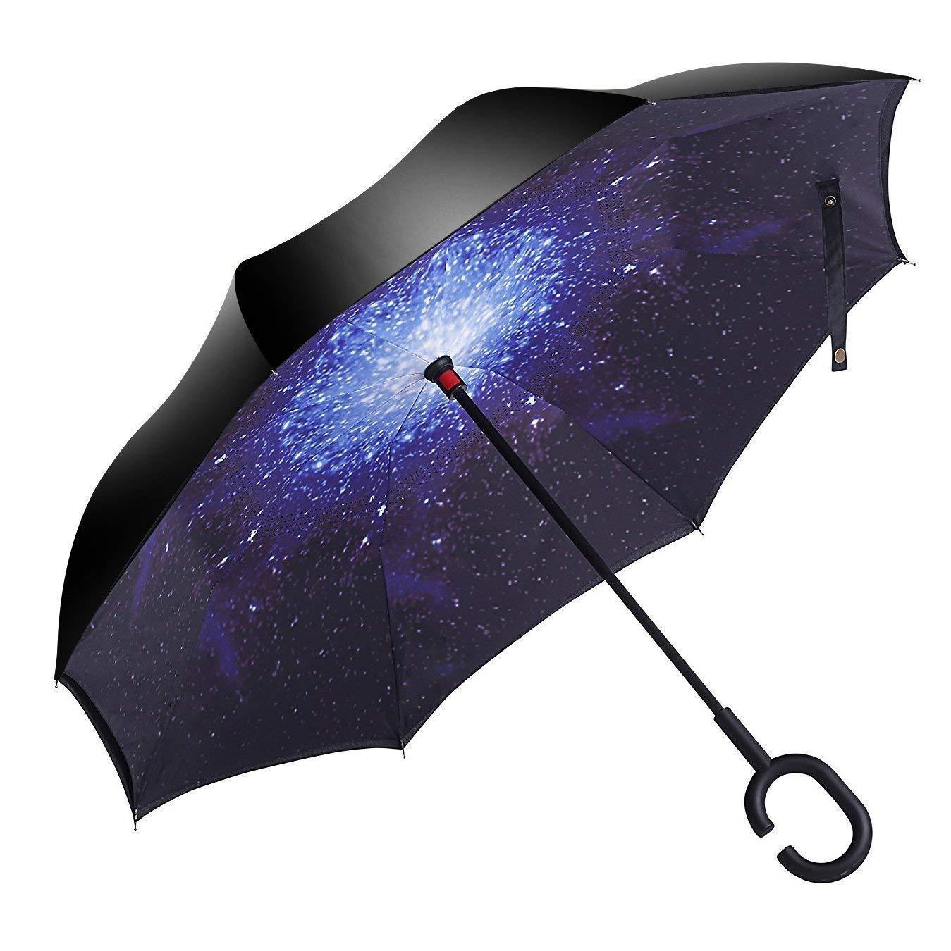 Cat Cartoon Double Layer Inverted Umbrella with C-Shaped Handle Anti-UV Waterproof Windproof Straight Umbrella for Car Rain Outdoor Use