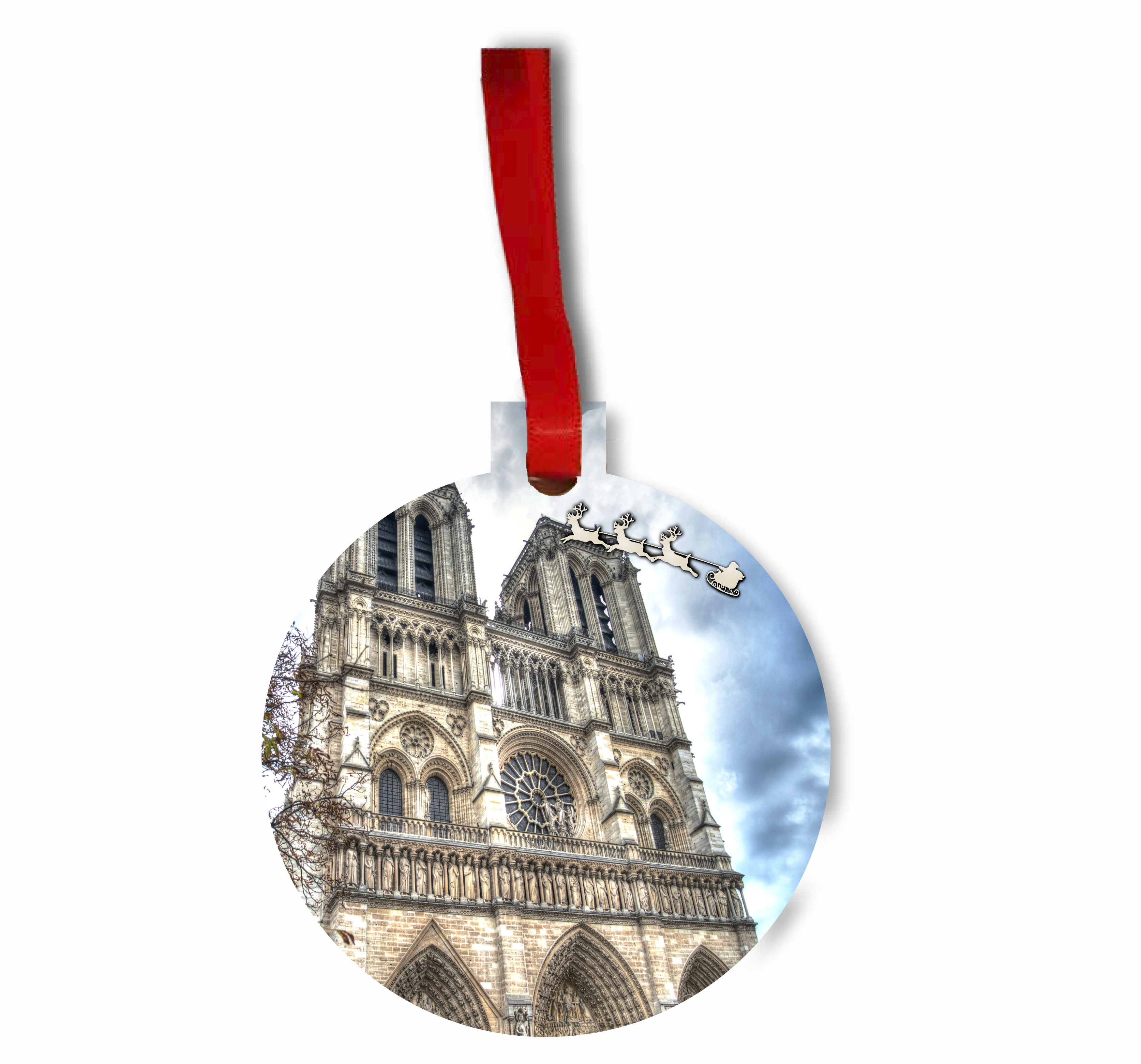Santa and Sleigh Riding Over The Notre Dame Cathedral TM Flat Round-Shaped Hardboard Holiday Tree Ornament Made in the USA