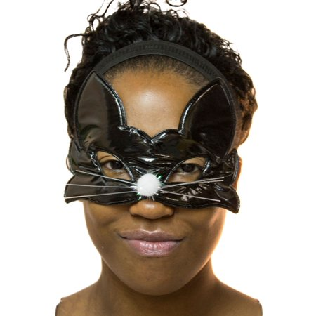 Realistic Cat Whiskers Halloween (Ladies Black Cat Half Mask with)