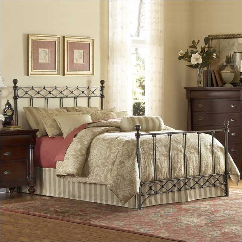 Fashion Bed Argyle Metal Poster Bed in Copper Chrome-King by Fashion Bed Group