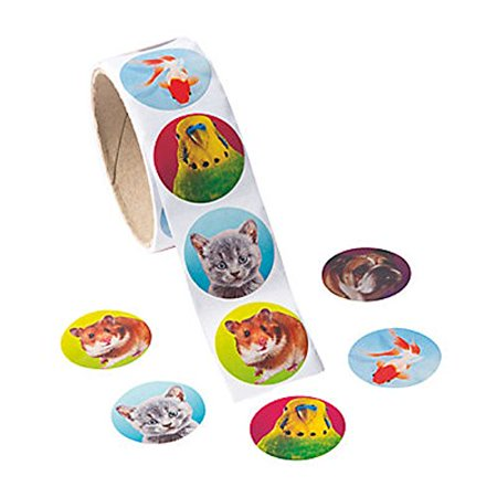 """1 ~ Realistic Photo Pets Roll Stickers ~ 100 round 1 1/2"""" paper stickers total ~ New - image 1 of 1"""