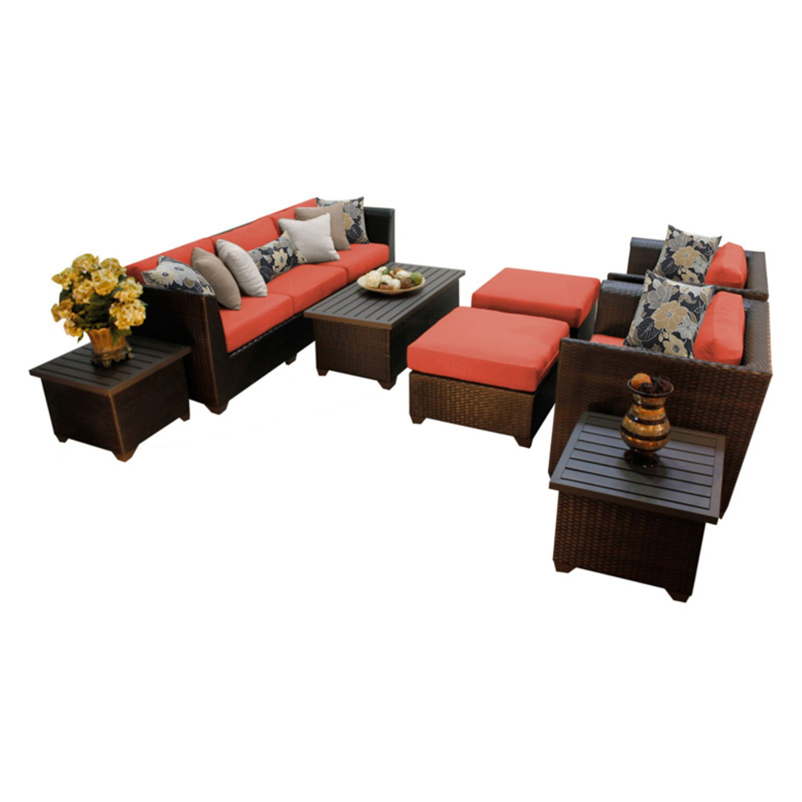 TK Classics Barbados Wicker 10 Piece Patio Conversation Set with 2 Sets of Cushion Covers