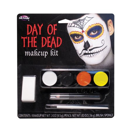 Day Of The Dead Spider Mustache Male Makeup Kit Set Costume Accessory - Dead Bride Makeup