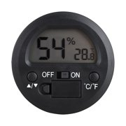 Hygrometer Thermometer Digital LCD Monitor Indoor Outdoor Humidity Meter Gauge for Humidifiers Dehumidifiers Greenhouse Basement Babyroom, Black Round
