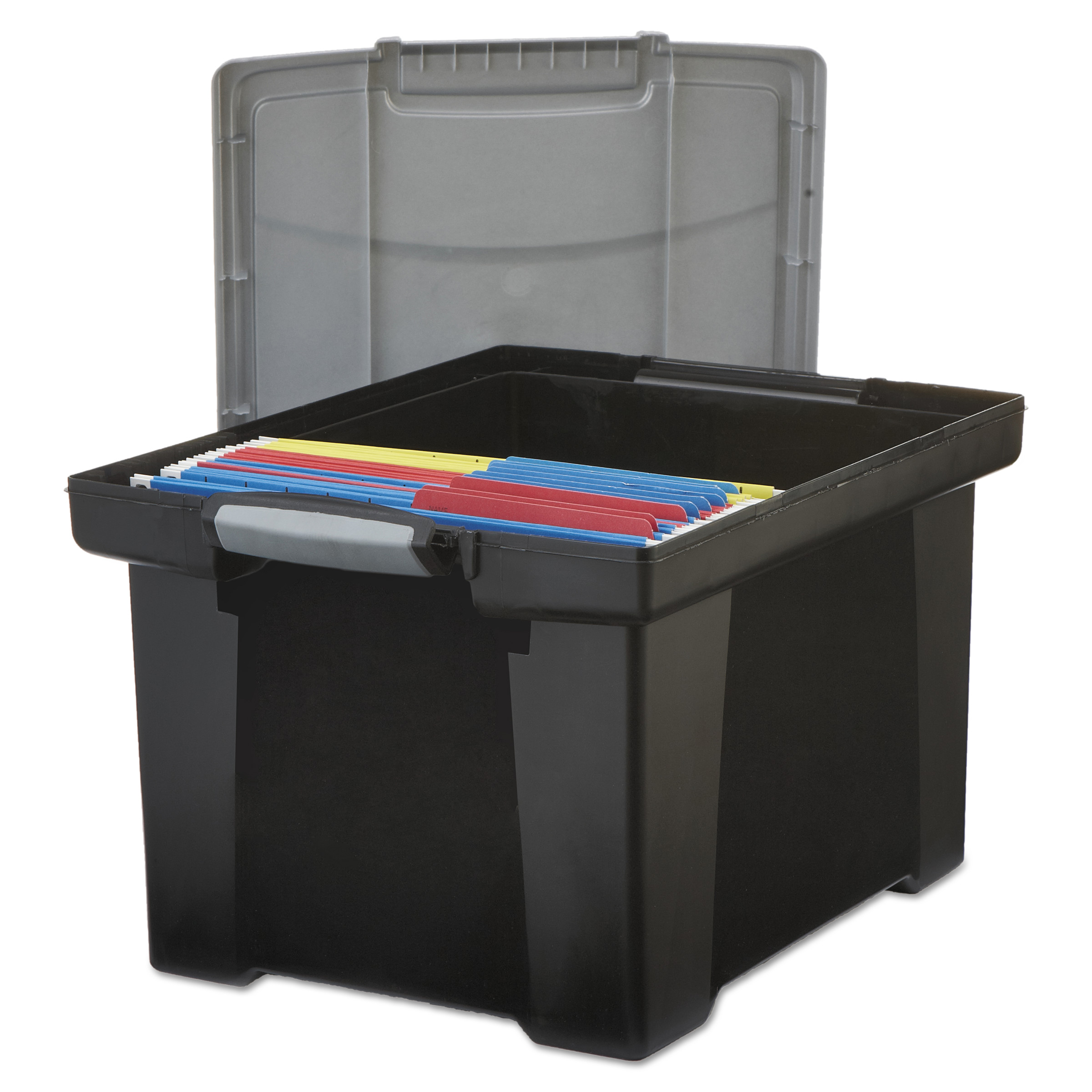 Storex Portable File Tote w/Locking Handle Storage Box, Letter/Legal, Black/Silver -STX61543U01C