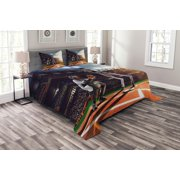 Teen Room Bedspread Set King Size, Professional Baseball Players in the Stadium Playing the Game Pich Sports Print, Quilted 3 Piece Decor Coverlet Set with 2 Pillow Shams, Multicolor, by Ambesonne