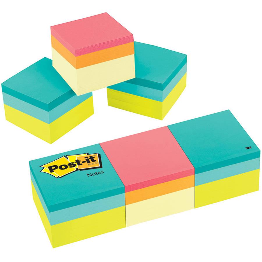 Post-it Notes Cube, 2 in x 2 in, Green Wave and Canary Wave Color Collections, 400 Sheets/Cube, 3-Pack