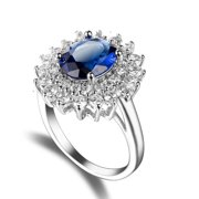 Vintage 100% silver color Created Blue White Black Cz Stone Rings for Women Party Anniversary Fine Jewelry Ring