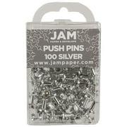 JAM Push Pins, Silver Pushpins, 100/Pack