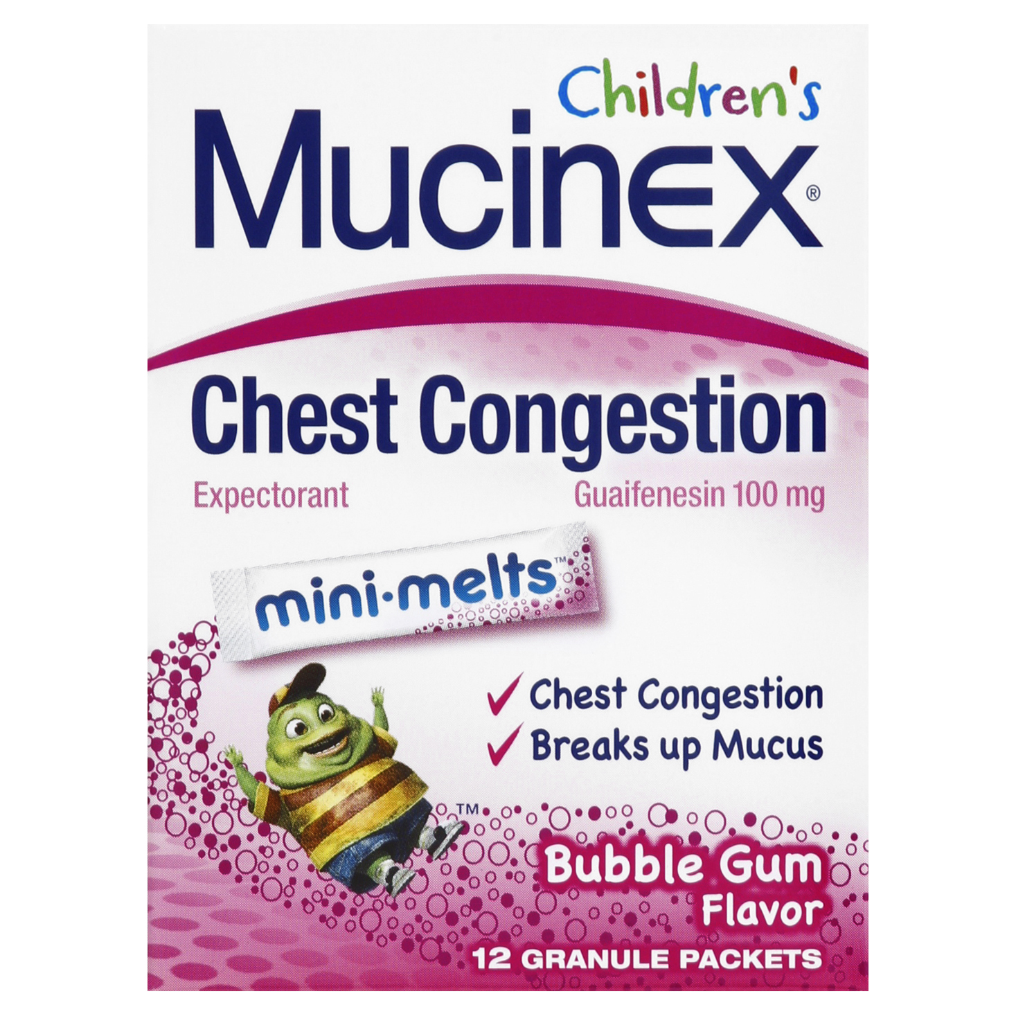 Mucinex Children's Chest Congestion Expectorant Mini-Melts, Bubblegum, 12 Count