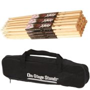 On Stage Hickory Nylon 7A (12 pair) + On-Stage DSB6500 Small Drum Stick Bag + Ultimate Value Drum Accessory Bundle