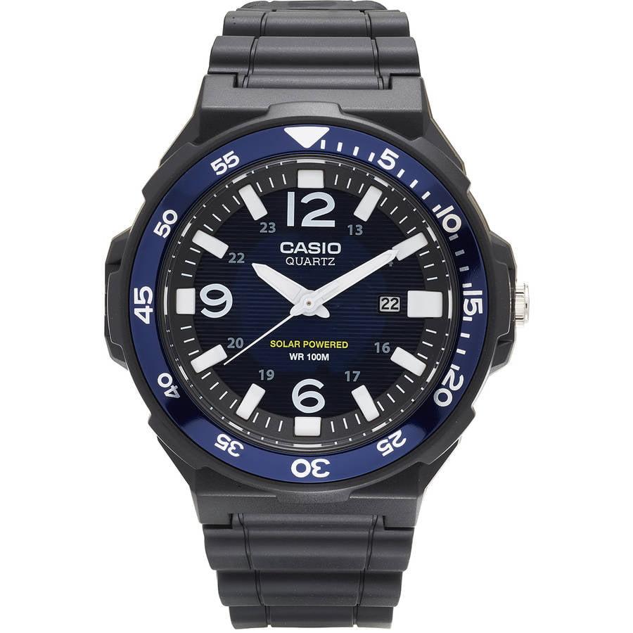 Casio Men's Solar-Powered Analog Watch, Black/Blue