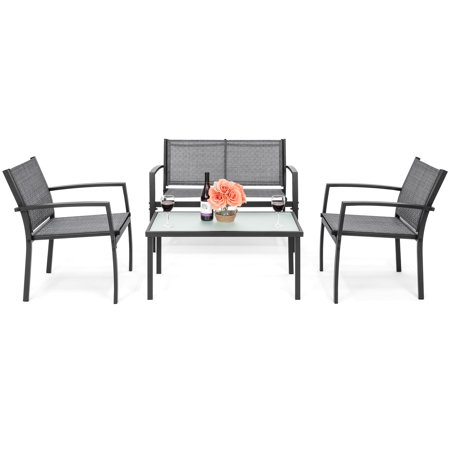 Best Choice Products 4-Piece Patio Metal Conversation Furniture Set w/ Loveseat, 2 Chairs, and Glass Coffee Table- Gray