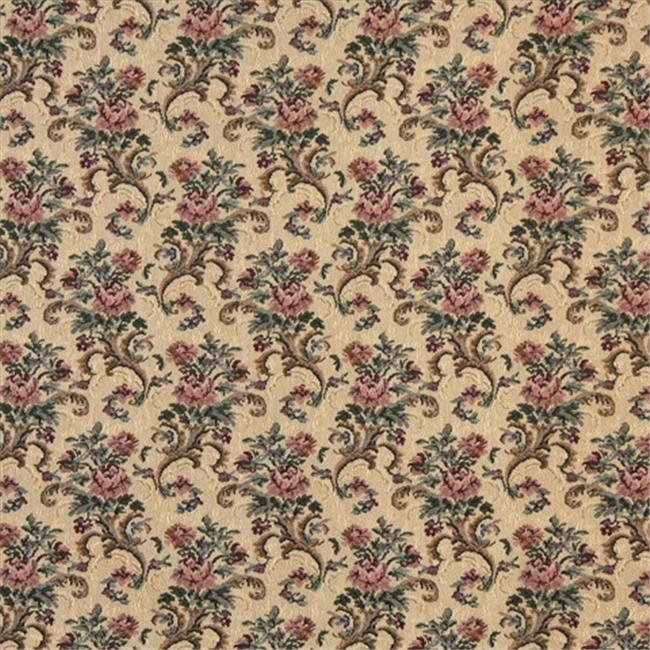 Designer Fabrics H859 54 in. Wide Gold, Burgundy And Green, Floral Tapestry Upholstery Fabric