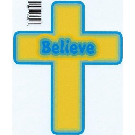 4.75 inx 5.75in Gold Blue Believe Cross Bumper Sticker Decal Car Stickers Decals