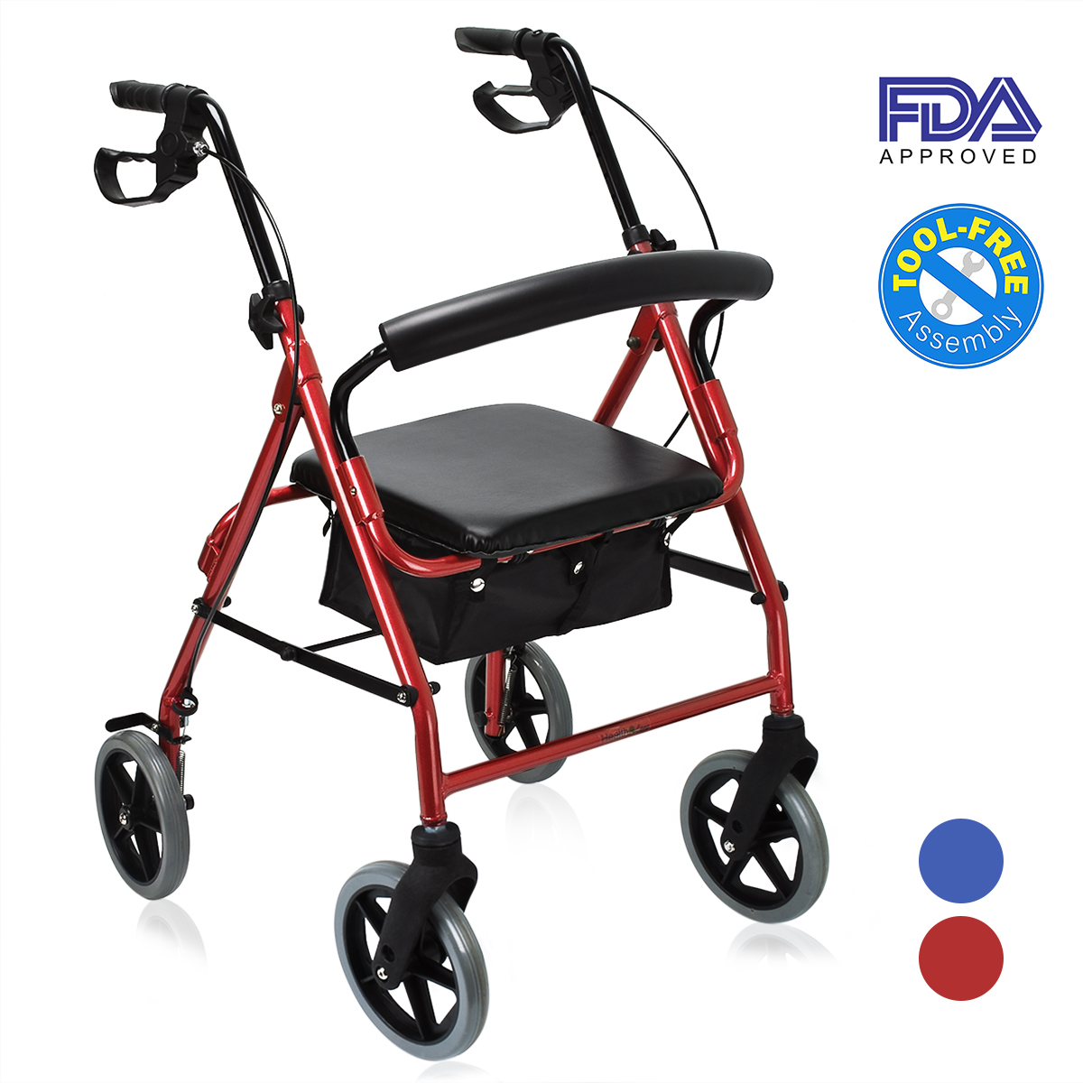 """Health Line Aluminum Rollator Rolling Walker with 8"""" Wheels, with 14"""" Paded Seat and Backrest, Red"""
