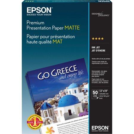 Epson, EPSS041263, Premium Matte Inkjet Presentation Paper, 50 / Pack, White