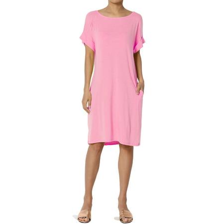 TheMogan Women's PLUS Jersey Cuffed Short Sleeve Boxy Relaxed Pocket T-Shirt Dress