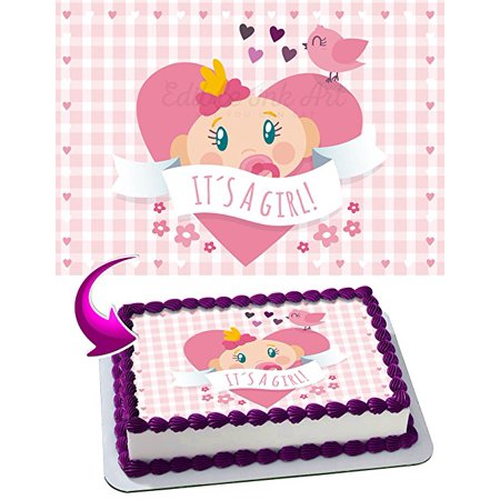 Girl Baby Shower Edible Image Cake Topper Icing Sugar Paper A4 Sheet Edible Frosting Photo Cake 1/4 Edible Image for cake - 1 Girl 1 Cake