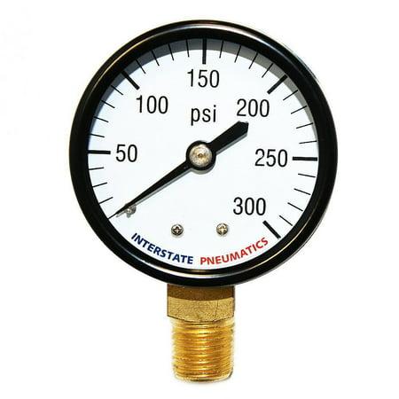 "Interstate Pneumatics G2012-300 Pressure Gauge 300 PSI 2"" Diameter 1/4"" NPT Bottom Mount"