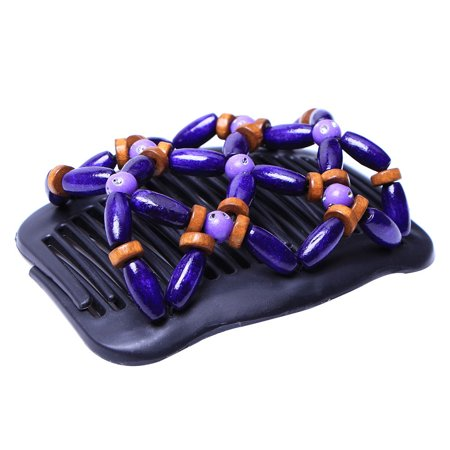 Retro Wooden Beads Hair Comb Double Row Hairpin Insert Women Hairstyle Clip - image 7 of 7