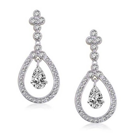 Cubic Zirconia Open Teardrop Pear Shaped Halo CZ Pave Prom Pageant Statement Earrings For Women Silver Plated Brass