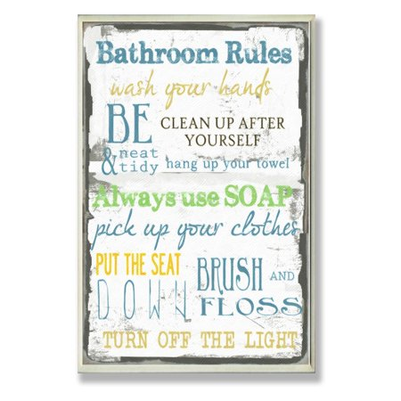 bathroom rules typography bathroom wall plaque