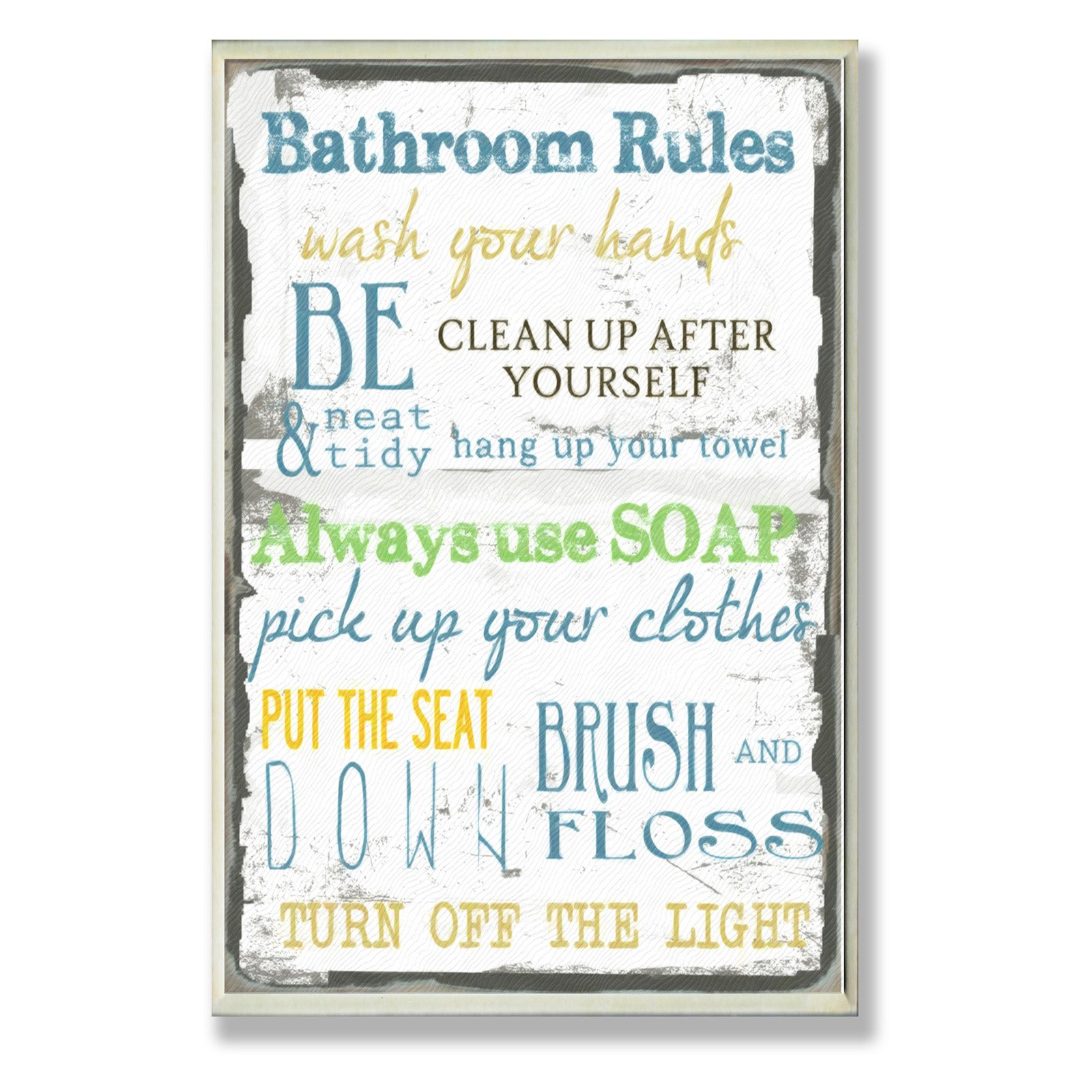 Bathroom Rules Typography Bathroom Wall Plaque