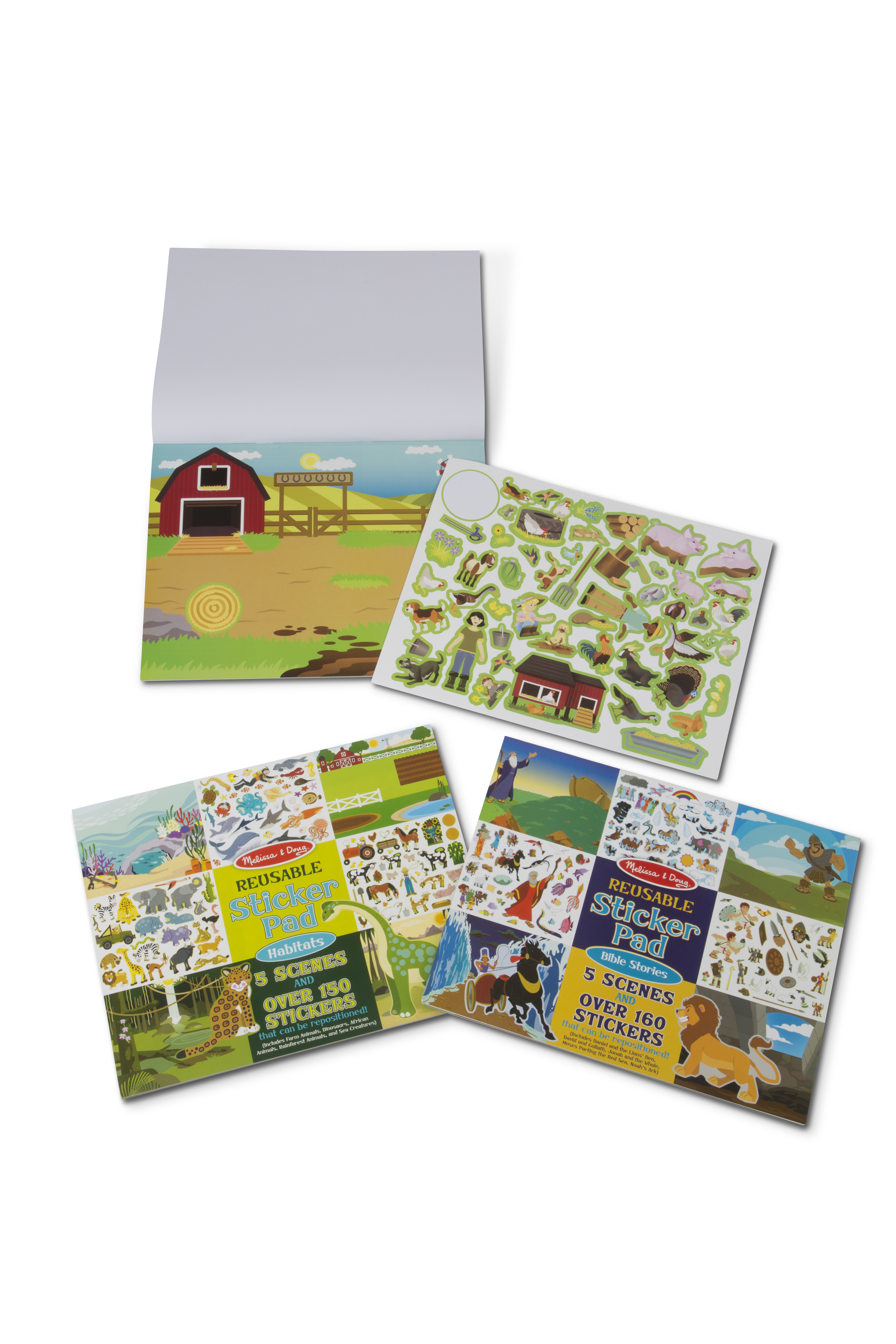 Melissa Doug Reusable Sticker Activity Pad 3 Pack Bible Stories Farm Habitats