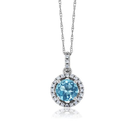 - 1.07 Ct Round Swiss Blue Topaz White Diamond 14K White Gold Pendant